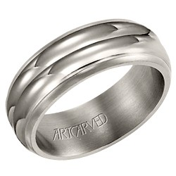Titanium Gents 8mm Torrence Wedding Band With Double High Polish Rims