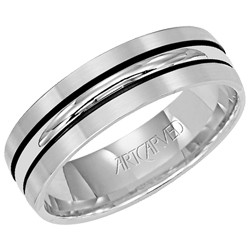 Gents 14k White Gold 6mm Castle Matte Finish Wedding Band