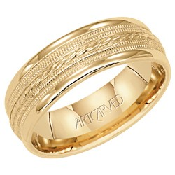 14k Yellow Gold 7mm Opulence Engraved Wedding Band