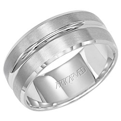 14k White Gold 8.5mm Engraved Forever Wave Ripple Design Wedding Band