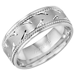Gents 14k White Gold 7mm Comfort Fit Waves Wedding Band