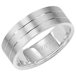 Gents 14k White Gold 7mm Comfort Fit Love Light Wedding Band