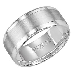 Gents 14k White Gold 8.5mm Flat Style Hallandale Wedding Band