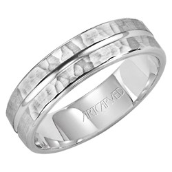 Gents 14k White Gold 6mm Comfort Fit Entrust Wedding Band