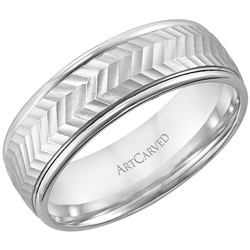Gents 14k White Gold 7mm Comfort Fit Leo Wedding Band