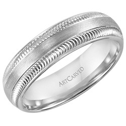 14k White Gold 6mm Comfort Fit Liberto Wedding Band