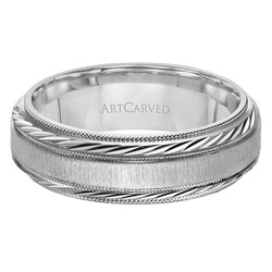 14k White Gold 7mm Comfort Fit Cambridge Wedding Band