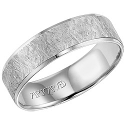 14k White Gold Lightweight Comfort Fit Engraved Sawyer Wedding Band