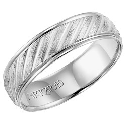 14k White Gold Lightweight Comfort Fit Engraved Parker Wedding Band