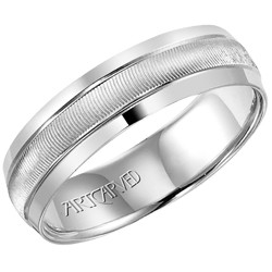 14k White Gold Lightweight Comfort Fit Engraved Merrick Wedding Band