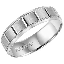 14k White Gold 6mm Comfort Fit Light Weight Sampson Engraved Wedding Band