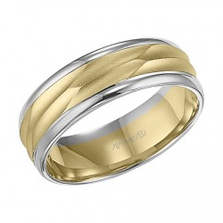 14k Two Tone Gold 7mm Comfort Fit Wedding Band