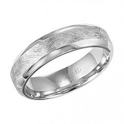 14k White Gold 6mm Comfort Fit Wedding Band With Crystaline Finish In Center