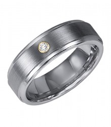 White Tungsten carbide Step Edge satin finish comfort fit band with 18k White Gold Bezel set diamonds