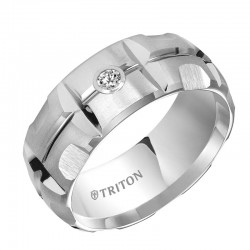 White Tungsten Carbide Domed Matrix Diamond Comfort Fit Band with Satin Finish and Bright Cuts