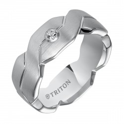 White Tungsten Woven Engraved Comfort Fit Diamond Band