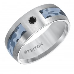 Comfort Fit Tungsten Carbide Camo Inlay Band with Diamond Detail