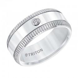 White Tungsten Carbide Comfort Fit Band with Solitaire Diamond & Bright Polish & Lathe Satin Center