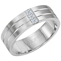 Gents 14k White Gold 7mm Comfort Fit Sparkling Band