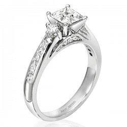 14k White Gold Elena Semi Mount Engagement Ring With Cz Center