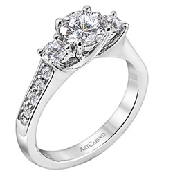 14k White Gold Prong Set Natalia Semi Mount With Diamond Down Shank
