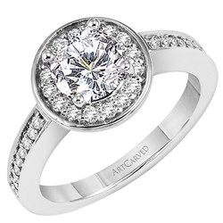14k White Gold Nadia Shared Prong Halo Design Diamond Semi Mount With Cz Center