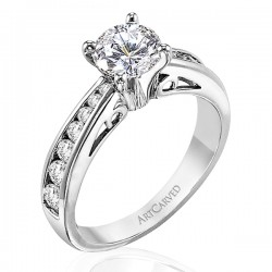 14k White Gold Caroline Graduated Channel Diamond Semi Mount Ring