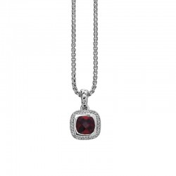 Sterling Silver Pendant 32 Rd Diamonds 1 7X7 Cushion Garnet
