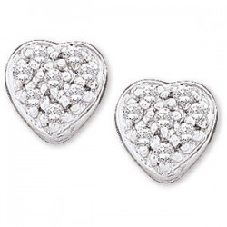 14kt White 1/10 CTW Diamond Heart Earrings