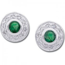 14kt White 3.5mm Round Emerald & 1/10 CTW Diamond Earrings
