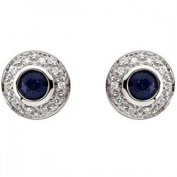 14kt White 3.5mm Round Sapphire & 1/10 CTW Diamond Earrings