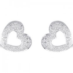 14kt White 1/4 CTW Diamond Heart Earrings