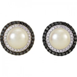 14kt White Freshwater Cultured Pearl with 1/2 CTW Black & White Diamond Earrings