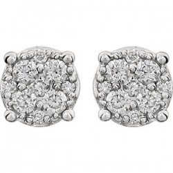 14kt White 1/4 CTW Diamond Cluster Friction Post Earrings