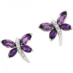Amethyst & Diamond Dragonfly Earrings