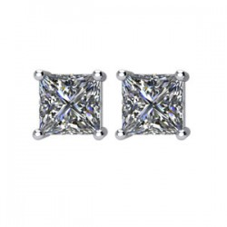 14kt White 1 CTW Diamond Threaded Post Stud Earrings