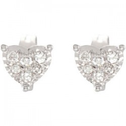 14kt White 1/6 CTW Diamond Heart Earrings