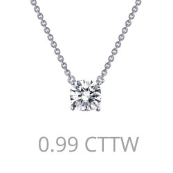 0.99 Cttw Platinum Simulated Diamond Classic Necklaces