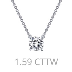 1.59 Cttw Platinum Simulated Diamond Classic Necklaces