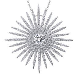 3.52 Cttw Platinum Simulated Diamond Pave Glam NecklacesPave Glam