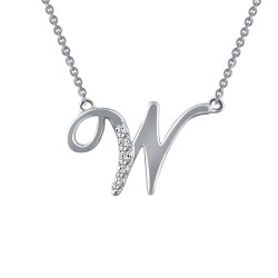 0.05 CTTW Platinum Simulated Diamond Initials By Rhonda Faber Green Script Initials