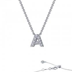 0.36 CTTW Platinum Simulated Diamond Initials By Rhonda Faber Green Block Initials