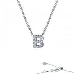 0.42 CTTW Platinum Simulated Diamond Initials By Rhonda Faber Green Block Initials