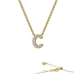 0.36 CTTW Gold Simulated Diamond Initials By Rhonda Faber Green Necklaces