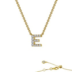 0.4 CTTW Gold Simulated Diamond Initials By Rhonda Faber Green Necklaces