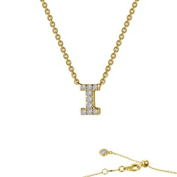 0.31 CTTW Gold Simulated Diamond Initials By Rhonda Faber Green Necklaces