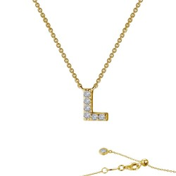 0.34 CTTW Gold Simulated Diamond Initials By Rhonda Faber Green Necklaces