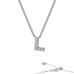 0.34 CTTW Platinum Simulated Diamond Initials By Rhonda Faber Green Block Initials