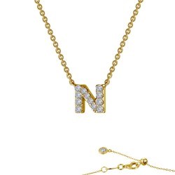 0.41 CTTW Gold Simulated Diamond Initials By Rhonda Faber Green Necklaces