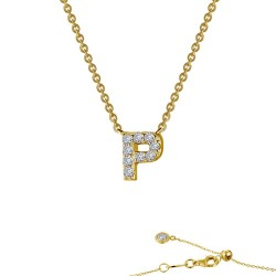 0.37 CTTW Gold Simulated Diamond Initials By Rhonda Faber Green Necklaces